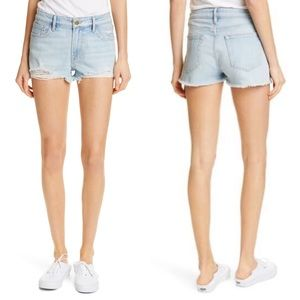 Le Garcon High Waisted Raw Hem Cut Off Jean Shorts